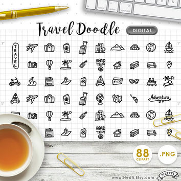 DIGITAL CLIPART Travel, Road Trip, Travelling, Vacation, Daily Doodle Handdrawn. Downloadable. Great for making planner stickers.
