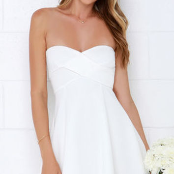 Right Here With Me Ivory Strapless Dress