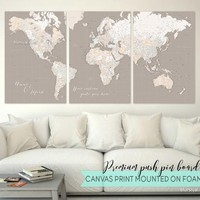 Personalized Premium push pin board featuring your custom quote: Highly detailed world map with cities split in 3 panels. Color combination: Light earth tones
