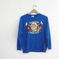 Vintage 1978 - Garfield Polo Club novelty sweatshirt // blue pullover