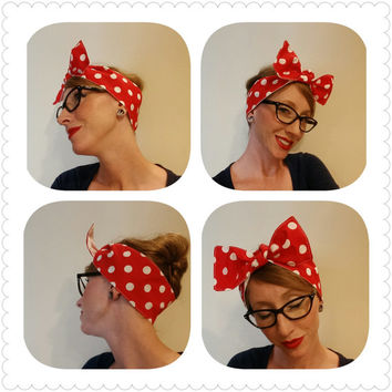 "Women's 1940's style vintage inspired head wrap head scarf rockabilly bandana red and white polka dot Hair Bow ""Rosie the Riveter"""