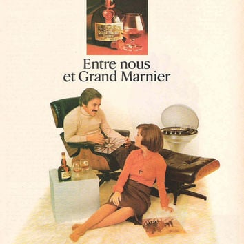 Wall Decor Vintage 1976 Grand Marnier Advertisement French Advertisement Liquor Ad 1970's Couple Kitsch Mancave Decor 1970s Modern Funny