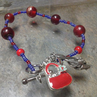Red Hat Society Glass Bead Bracelet