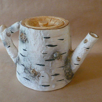 Birch Bark pattern Dept 56 teapot or coffee pot by RadPadVintage