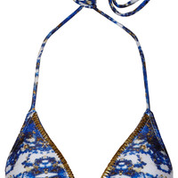 Vix - Pyramid embellished printed triangle bikini top