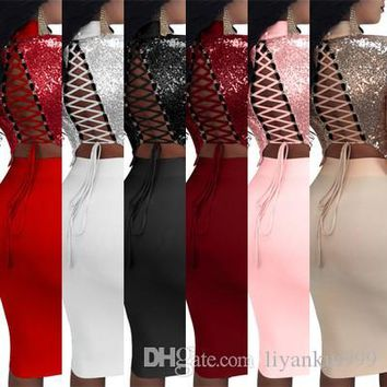 Spring and Summer 7-color Europe and the United States sexy sequins two-piece nightclub long sleeve tie dress
