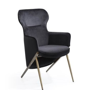 Modrest Coreen Modern Black Velvet Accent Chair