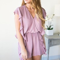 Play Time Ruffle Romper with Pockets - Mauve
