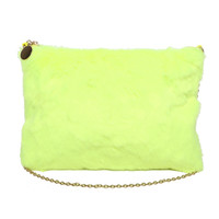 FAUX FUR ZIPPER CLUTCH - NEON