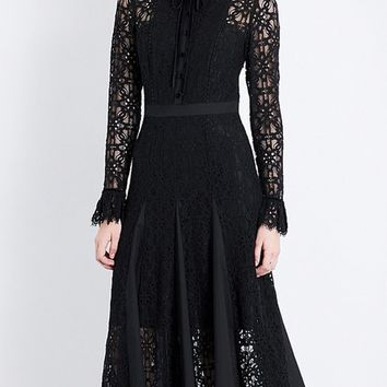 Black Bow Tie Front Flare Sleeve Lace Midi Dress