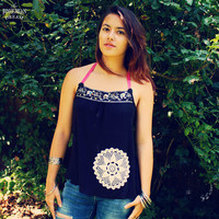 Bohemian Top Halter Shirt Embroidered Stones Crochet Doily Boho Hippie Women's Upcycled Clothing Recycled Eco Friendly Clothing OOAK