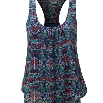 LE3NO Womens Double Layered Bohemian Racerback Tank Top (CLEARANCE)