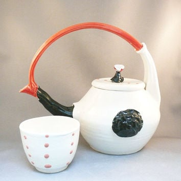 Handmade Ceramic Teapot set that is black and by BlueSkyPotteryCO