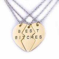broken heart 3 parts and 2 parts pendant necklace best bitches Best Friend Forever necklace