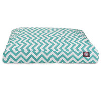 Teal Chevron Small Rectangle Dog Bed