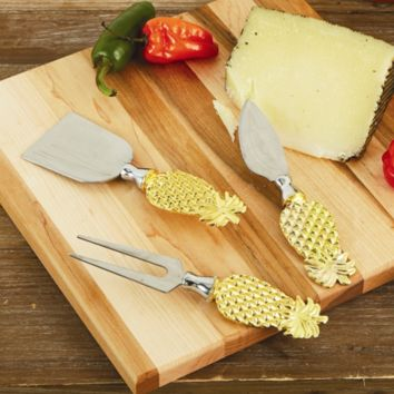 Golden Pineapple Cheese Knives Set of 3 in Gift Box