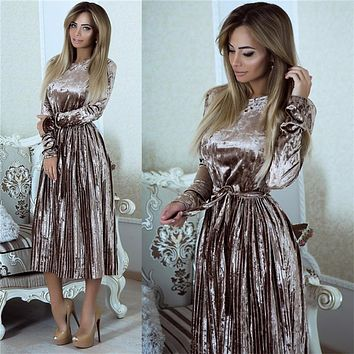 Susi&Rita Vintage Long Sleeve Velvet Dress Women 2018 Bodycon Belted Midi Dress Spring Pleated Party Dresses Vestidos Robe Femme
