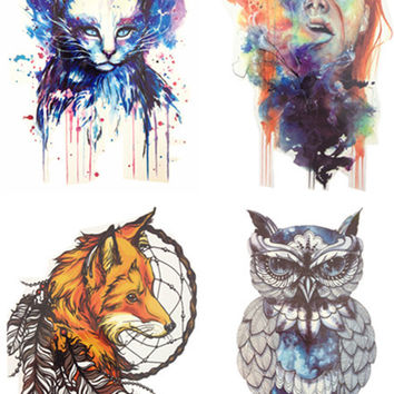 Save More 4PCS SET Hot Sale Combo Cat Girl Fox Owl Temporary Tattoo Combo