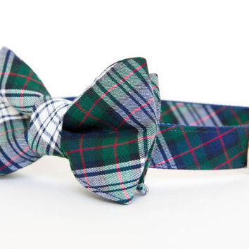 Bow Tie Dog Collar - Classic Navy Tartan