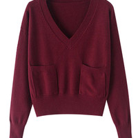 V-neck Long Sleeve Pocket Sweater