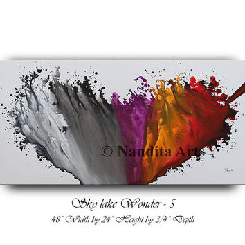 Abstract Painting on Canvas Red Large Modern Painting Original Huge Wall Art Home Decor by Nandita Albright