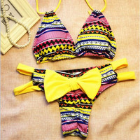 Bow Print Hollow Out Bikini Set Swimsuit Swimwear
