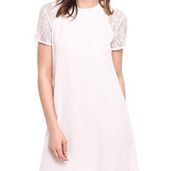 ELESOL Women Casual Shift Lace Short Sleeve Keyhole Back Summer Mini Dress