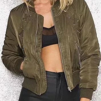 Army Green Eyelet Lace Up Front Long Sleeve Chic Women Bomber Jacket