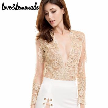 Gold lace perspective Bodysuits