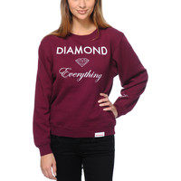Diamond Supply Diamond Everything Burgundy Crew Neck Sweatshirt at Zumiez : PDP