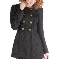 Stately Supper Coat in Black Brocade | Mod Retro Vintage Coats | ModCloth.com
