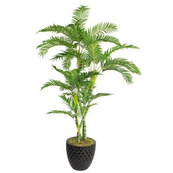 """78"""" Artificial Palm Tree in 13.6"""" Black Decorative Honeycomb Planter"""