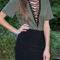 Lace Up Olive Tunic