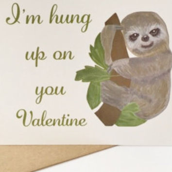 Valentines day sloth greeting card