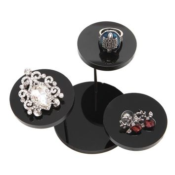 Jewellery Box Jewelry Display Stand Black Acrylic Necklace Bracelet Earring Round Tray Rack Case joyero organizador New