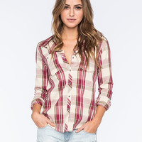 Roxy Sneaky Peaks Womens Flannel Shirt Red Combo  In Sizes