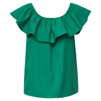 Stylish Off-The-Shoulder Solid Color Short Sleeve Blouse For Women