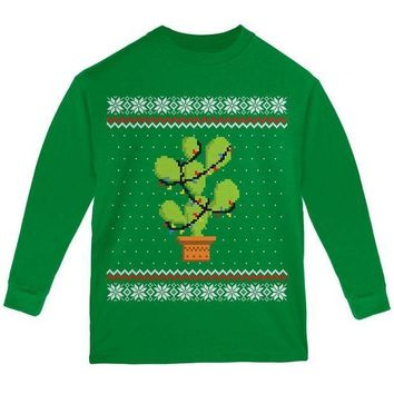 PEAPGQ9 Cactus Prickly Pear Tree Ugly Christmas Sweater Youth Long Sleeve T Shirt
