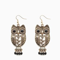 Filigree Owl Drop Earring