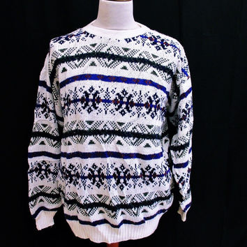 Vintage 1990s PSYCHEDELIC STRIPED Sweater Jumper Large Crazy Indie Pattern