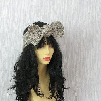 Knitted Bow Headband Oatmeal Naturel Wood Earth Neutral