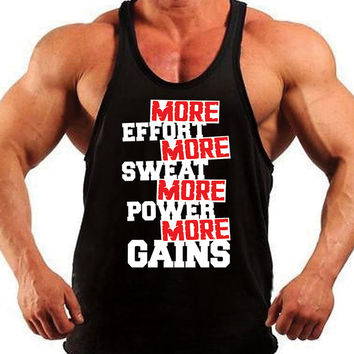 Sweat, Power, Gains, Bodybuilding Tank Top,Mens Workout Shirt, Racerback Singlet Y-Back, Muscle Tee, Mens Fitness, Gym Tank, Workout Tank