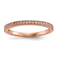 Sterling Silver Rose Gold Plated Pink CZ Brilliant Embers Ring