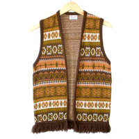 Vintage 60s/70s Tribal Aztec Boho Hippie Fringe Ugly Sweater Vest - The Ugly Sweater Shop