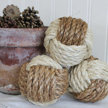 Nautical knots - rope balls - large monkey fists - set of 3
