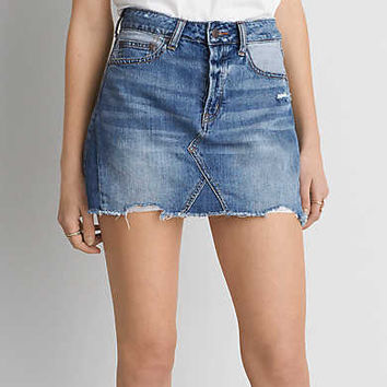 AEO Vintage Hi-Rise Denim Skirt , Blue