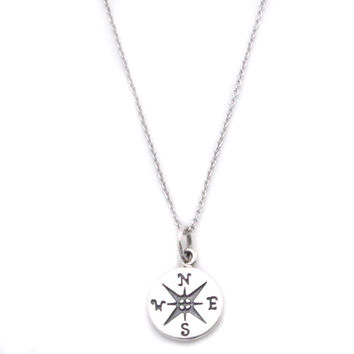 Compass Sterling Silver Small Charm Necklace