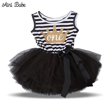 Newborn Baby Crown Dress Summer 2018 Tutu 1 2 Year Birthday Dress Girls Clothes Little Princess Dress For Infant Party Wear