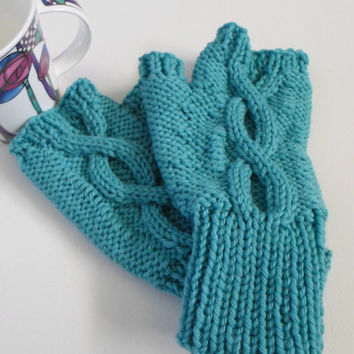 Fingerless Gloves Blue Wool Texting Mitts Aquamarine Winter Mitts Adult Size Ready to Ship