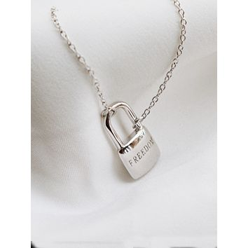 English Sterling Silver Freedom Locket Necklace